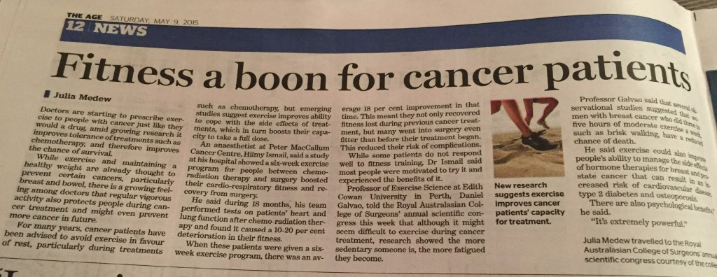 The Age - Fitness a boon for cancer patients